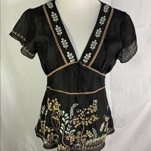 Sundance | Boho Black Embroidered Top